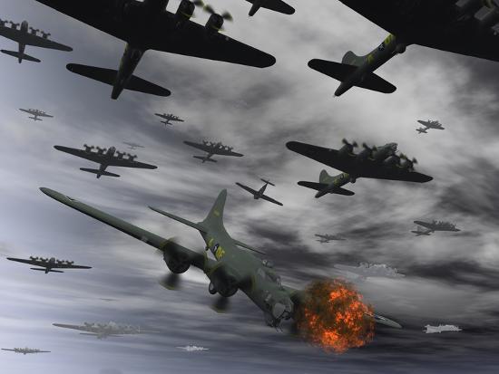 stocktrek-images-a-b-17-flying-fortress-is-set-ablaze-by-a-german-interceptor-fighter-plane