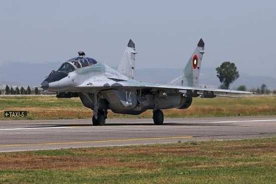stocktrek-images-a-bulgarian-air-force-mig-29ub-fulcrum-taxiing