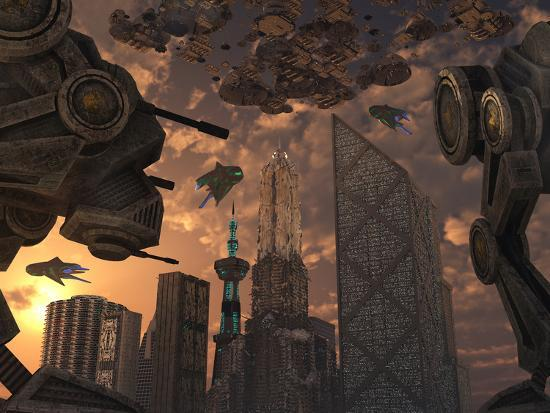 stocktrek-images-a-city-of-the-future-guarded-by-battle-droids