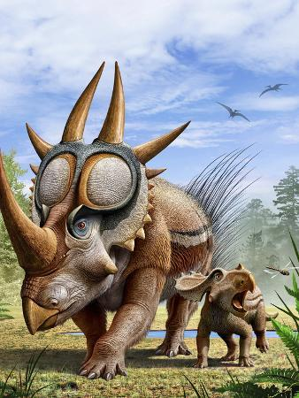 stocktrek-images-a-rubeosaurus-and-his-offspring