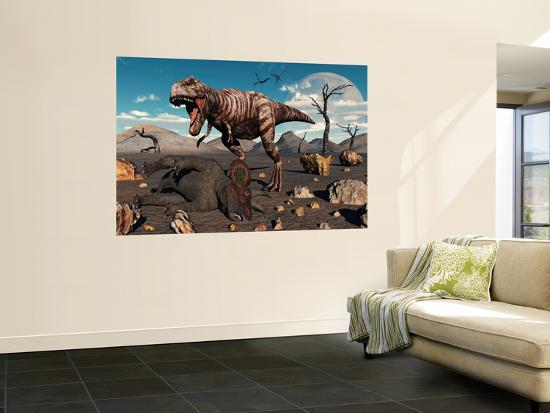 stocktrek-images-a-t-rex-is-about-to-make-a-meal-of-a-dead-triceratops