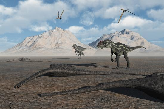 stocktrek-images-allosaurus-dinosaurs-approach-a-group-of-dead-sauropods