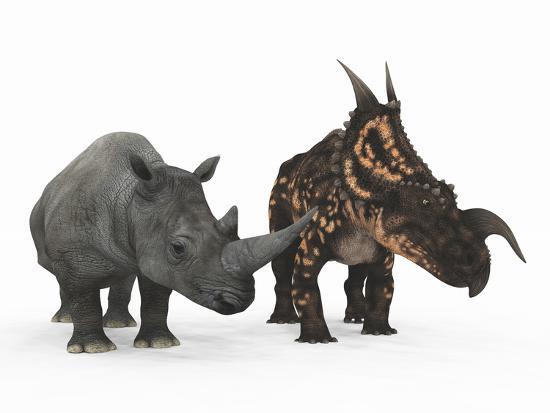 stocktrek-images-an-adult-einiosaurus-compared-to-a-modern-adult-white-rhinoceros