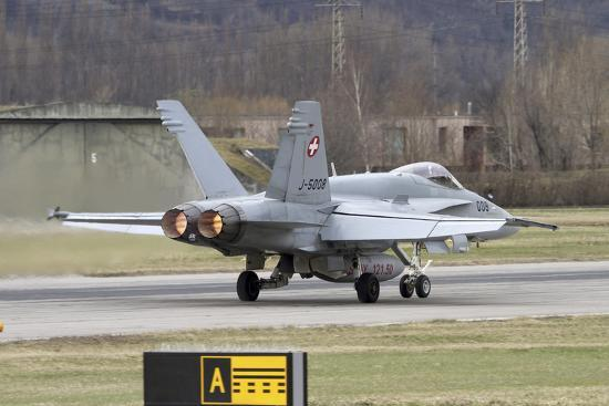 stocktrek-images-an-fa-18-hornet-of-the-swiss-air-force-on-the-runway