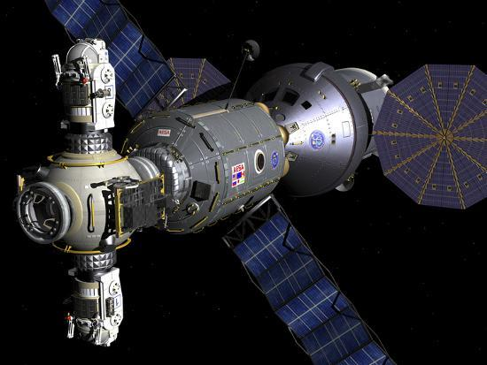 stocktrek-images-artist-s-concept-of-a-deep-space-vehicle-with-extended-stay-module-and-manned-maneuvering-vehicles