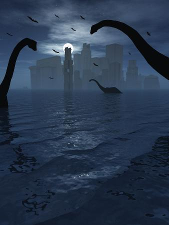 stocktrek-images-dinosaurs-feed-near-the-shores-of-the-famed-lost-city-of-atlantis