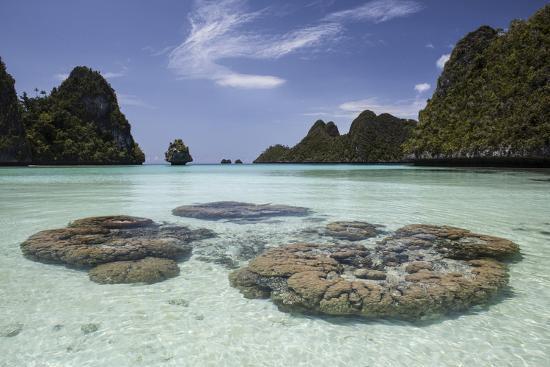 stocktrek-images-limestone-islands-surround-corals-in-a-lagoon-in-raja-ampat