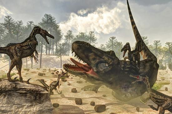 stocktrek-images-tarbosaurus-attacked-by-a-group-of-velociraptor-dinosaurs