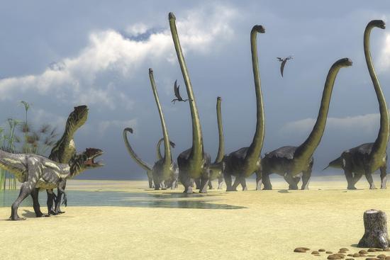 stocktrek-images-two-allosaurus-predators-prepare-for-an-attack-on-a-herd-of-omeisaurus