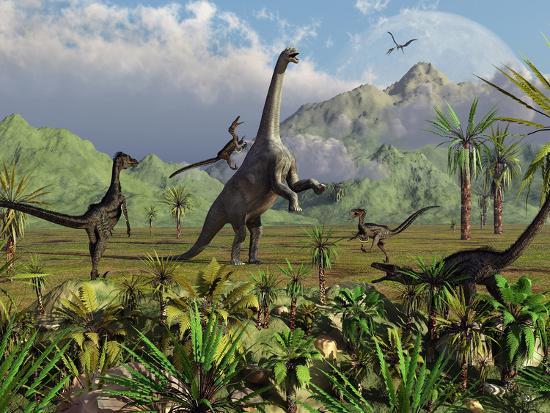 stocktrek-images-velociraptor-dinosaurs-attack-a-camarasaurus-for-their-next-meal