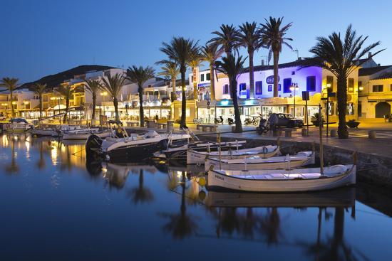 stuart-black-restaurants-at-night-along-the-harbour-fornells-menorca-balearic-islands-spain-mediterranean