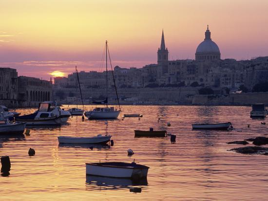 stuart-black-sunrise-over-msida-creek-to-valletta-with-dome-of-carmelite-church-valletta-malta-mediterranean