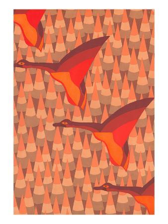 stylized-orange-geese-orange-pines
