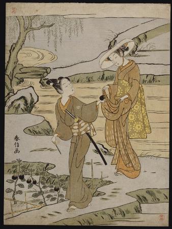 suzuki-harunobu-a-summer-scene-on-a-raised-embankment-of-a-young-man-cutting-an-aubergine