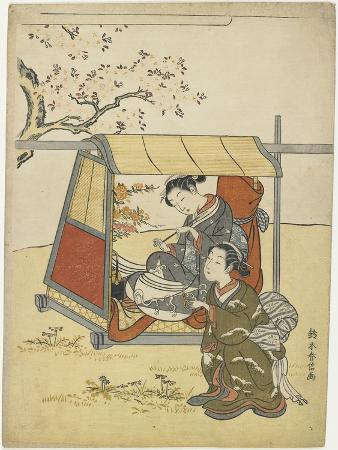 suzuki-harunobu-young-woman-viewing-cherry-blossoms-as-a-mitate-of-lady-nakanokimi-c-1767
