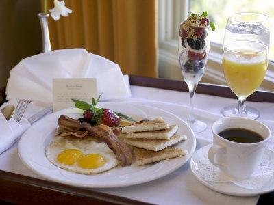 table-setting-of-a-variety-of-traditional-breakfast- & Table Setting of a Variety of Traditional Breakfast Foods in Elegant ...