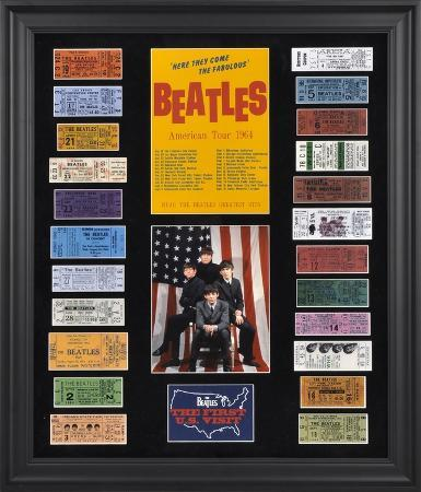 the-beatles-1964-u-s-tour-framed-presentation-with-23-replica-concert-tickets