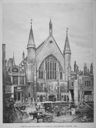 the-east-end-of-the-guildhall-and-the-old-guildhall-library-city-of-london-1870