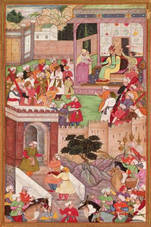 the-infant-is-presented-to-humayan-at-kabul-from-the-akbarnama-mughal