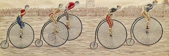 the-last-lap-penny-farthing-race-woven-silk-stevengraph-by-thomas-stevens-of-coventry-1872