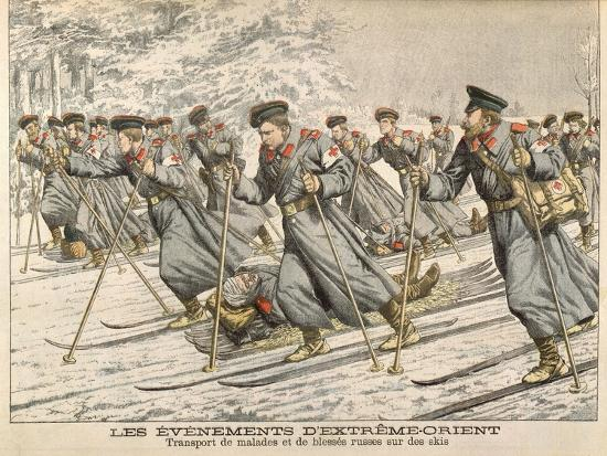the-red-cross-transporting-injured-russians-on-skis-during-the-russo-japanese-war