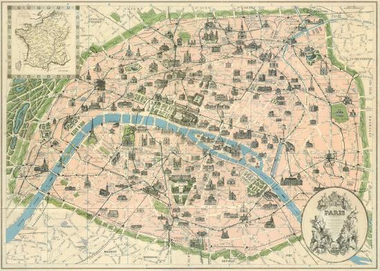 Vintage paris map art print by the vintage collection at art vintage paris map sciox Gallery