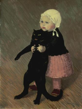 theophile-alexandre-steinlen-a-small-girl-with-a-cat-1889