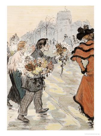 theophile-alexandre-steinlen-a-street-scene-with-flower-vendors