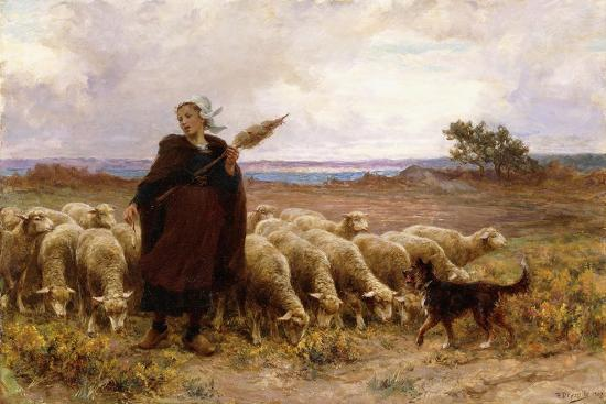 theophile-louis-deyrolle-shepherdess-with-her-flock-1907