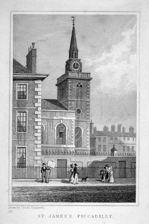 thomas-barber-view-of-the-north-western-end-of-st-james-s-church-piccadilly-london-c1827