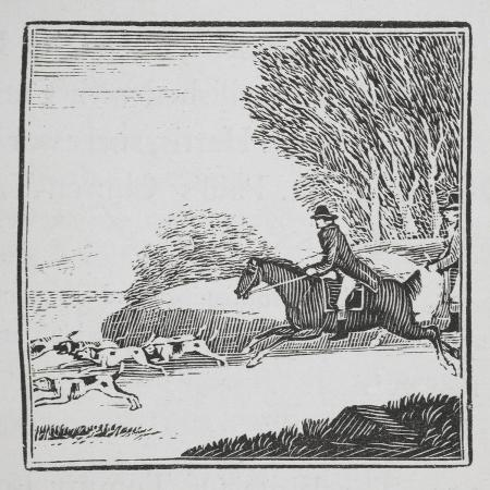 thomas-bewick-engraving-of-a-man-out-hunting-on-horseback-with-dogs