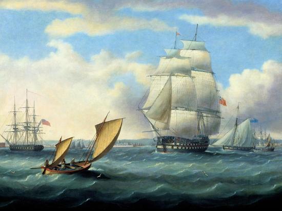 thomas-buttersworth-euryalus-capt-blackwood-thunderer-and-ajax-leaving-plymouth-to-the-battle-of-trafalgar-1805