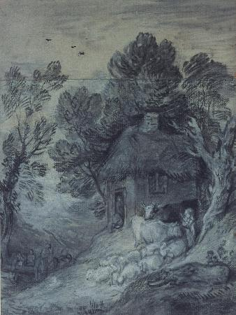 thomas-gainsborough-wooded-landscape-with-cottage-peasant-cows-and-sheep-and-cart-travelling-down-a-slope-1777-78