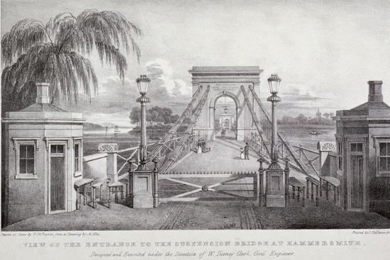 thomas-mann-baynes-view-of-the-entrance-to-the-suspension-bridge-at-hammersmith-london-1827