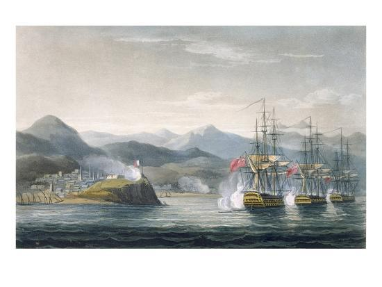 thomas-whitcombe-the-squadron-under-the-command-of-sir-j-brisbane-attacking-fort-maurigio-on-12th-april-1814