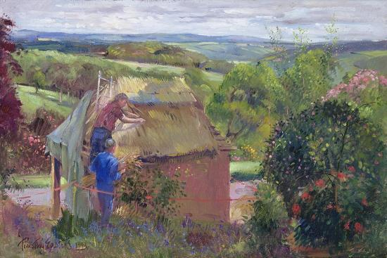 timothy-easton-thatching-the-summer-house-lanhydrock-house-cornwall-1993