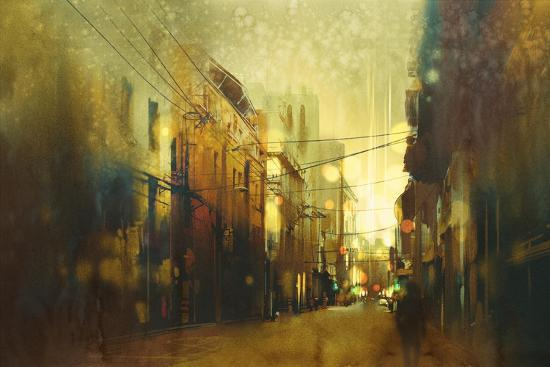tithi-luadthong-city-street-illustration-painting-with-vintage-style