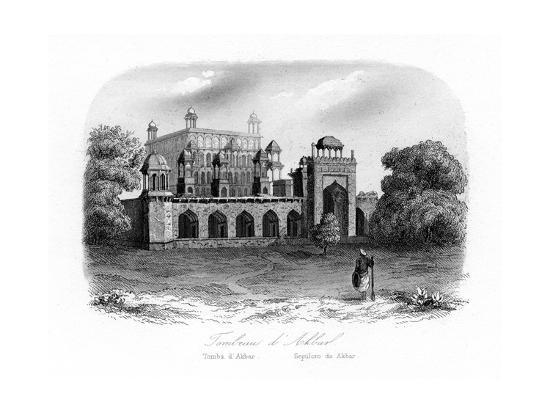 tomb-of-akbar-the-great-sikandra-india-c1840