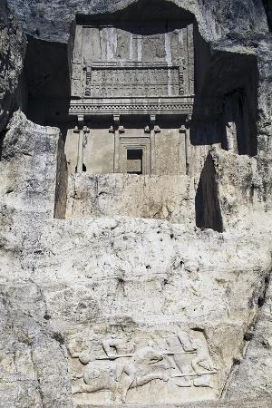 tomb-of-artaxerxes-i-above-sasanian-equestrian-relief-of-hormizd-ii