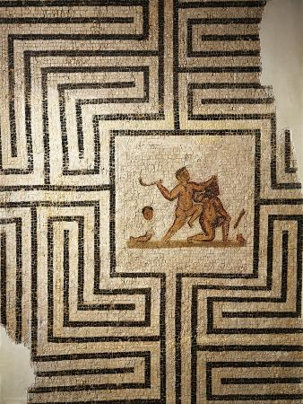 tunisia-thuburbo-majus-mosaic-work-depicting-theseus-against-the-minotaur-in-the-labyrinth