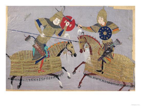 two-warriors-on-horseback-in-combat-school-of-tabriz-circa-1480