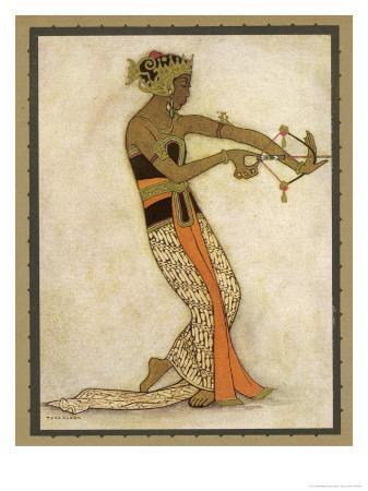 tyra-kleen-javanese-dancer-drawing-a-bow-in-a-highly-stylized-movement