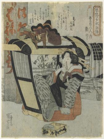 utagawa-kuniyoshi-woman-as-the-hero-taiso-in-palanquin-holding-a-pipe-c-1830