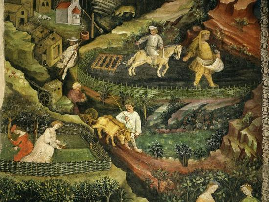 venceslao-april-or-aries-with-ploughing-with-oxen-women-in-garden-and-rabbits-in-forest