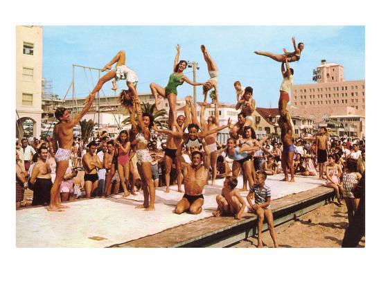 Venice Beach Acrobatics Retro Art Print At