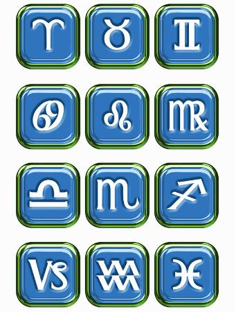 victor-habbick-illustration-of-glossy-astrology-sign-buttons-on-a-white-background