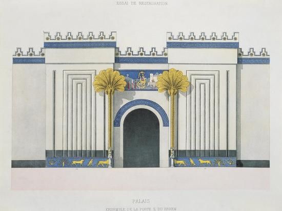 victor-place-and-felix-thomas-reconstruction-of-entrance-door-to-harem-at-palace-of-sargon-ii