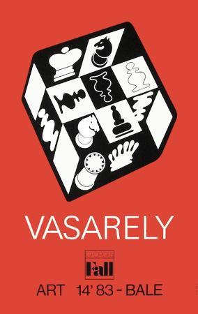 victor-vasarely-expo-art-basel-83-echecs-fond-rouge