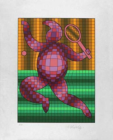 victor-vasarely-tennis-gruen-orange-auf-silber