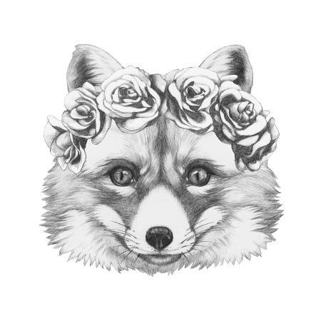 victoria-novak-original-drawing-of-fox-with-floral-head-wreath-isolated-on-white-background